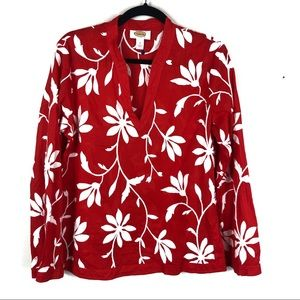 Talbots red floral printed embroidered top L8